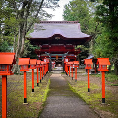 鯉の明神/小山市/栃木県/高椅神社 神社巡り 色鮮やかな「楼門」です😆✨  …(1枚目)