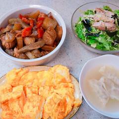 手抜きレシピ/おうちごはん 今日の晩御飯🌃🍴 筑前煮 チキンサラダ …