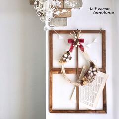 手作りリース/ナチュラル雑貨/木の実アレンジ/アレンジリース/クリスマスリース/雑貨/... クリスマスリース作りました♪(1枚目)
