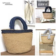 手作りバッグ/ナチュラル/かぎ針編み/編み小物/編み物/夏bag/... 麻紐バッグまた編みました♪