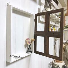 手作り雑貨/百均リメイク/ドライアレンジ/ワイヤー雑貨/ワイヤークラフト/ディスプレイ/... セリアのフレームで窓枠風にして ワイヤー…