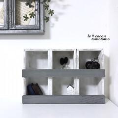 飾り棚/手作り棚/6マスBOX/ディスプレイ棚/木工作品/木工雑貨/... セリアの木箱を使って6マスBOX作りまし…
