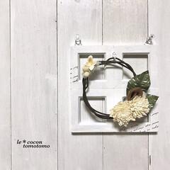 ディスプレイ/アレンジリース/ナチュラルテイスト/ナチュラル雑貨/窓枠DIY/春のフォト投稿キャンペーン/... 小さなフレームを4つ繋げた窓枠風に、 ワ…(1枚目)