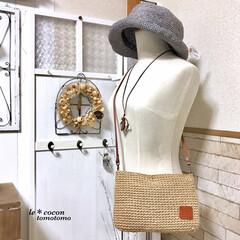 手作りバッグ/手作り雑貨/ショルダーバッグ/ワイヤー雑貨/帽子/パテーションdiy/... 春夏に向けて麻紐バッグ作りました♪ トル…