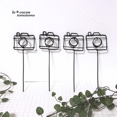 手作り雑貨/カメラモチーフ/ガーデン雑貨/手作りピック/カメラ型/ガーデンピック/... ワイヤーでカメラ型のガーデンピック作りま…