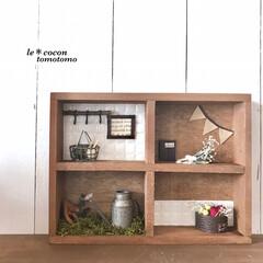ディスプレイ/セリア/木箱アレンジ/ナチュラルテイスト/手作り雑貨/ミニチュアハウス/... セリアの木箱でミニチュア雑貨作りました♪(2枚目)