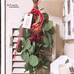 花のある暮らし/ディスプレイ/下駄箱の上/ナチュラルテイスト/手作り雑貨/ミラーDIY/... 玄関にスワッグ飾りました♪ お正月には水…(3枚目)