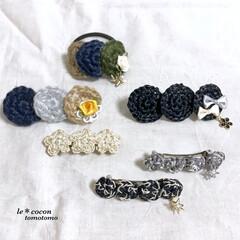編み小物/手作り雑貨/麻紐作品/ヘアゴム/バレッタ/ヘアアクセサリー/... 夏らしいヘアアクセサリー作りました♪