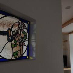 ステンドグラス/新居/リフォーム/鳥 2世帯住宅で違うステンドグラスを依頼、息…