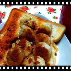 シナモン大好き/トースト/バナナ/シナモントースト おはようございます☀️.°  朝イチで仕…(1枚目)