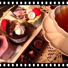 お菓子/フェルト/なんちゃって/ティータイム/ピンク/雑貨/... teaTime♥  🍓のpinkのcak…