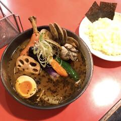 やっぱ吉田商店だよね/スープカレー お晩です〜😆 今日は義母に誘われて、義父…