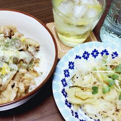 夕飯/フード 今日の夕飯は、 豚肉と舞茸とコーンチーズ…