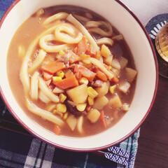 カレーうどん/フード お昼ご飯に、昨日作ったカレースープの残り…