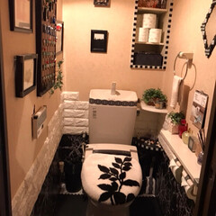 トイレDIY/トイレ/DIY/ダイソー 床はプレイマットを トイレの形に切って敷…(1枚目)