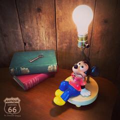 ミッドセンチュリー/ミッキーマウス/ヴィンテージキャラクター/ナイトライト/テーブルランプ/子供部屋/... 🇺🇸アメリカ買付 ヴィンテージミッキーの…