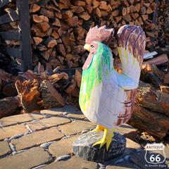 置物/オーナメント/アメリカンヴィンテージ/にわとり/木彫り人形/ヴィンテージ/... 🇺🇸アメリカで見つけた 古い木彫りのニワ…