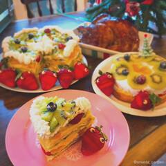 大家族/ツリーケーキ/ミルクレープ/ハンドメイドケーキ/手作りケーキ/ケーキデコ/... after Christmas🎅  今年…