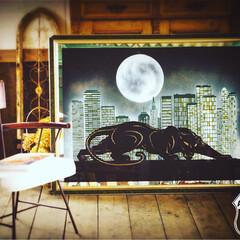 満月/ヴィンテージインテリア/黒ヒョウ/ブラックパンサー/アートフレーム/ミッドセンチュリー/... 🇺🇸アメリカ買付け 黒ヒョウと満月をモチ…
