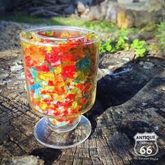 ロマンチック/キャンドルナイト/クラッシュガラス/キャンドルホルダー/ヴィンテージ/アンティークスタイル/... 🇺🇸アメリカ買付 70年代、グラスに カ…(1枚目)
