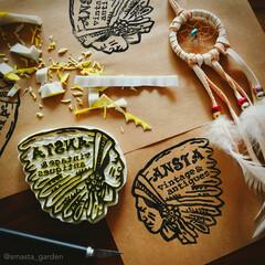 アンティークスタイル/イベント出店/ロゴ/デザイン/アパッチ/インディアン/... ✂︎ お久しぶりの 消しごむハンコワーク…