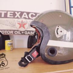 Wストラップ/バイク/ミリタリーインテリア/ジェットヘルメット/ヘルメット/ビンテージ/... 🇺🇸 アメリカ買付けのカッコイイ!!!!…