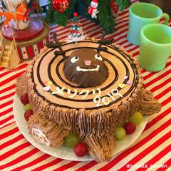 ブッシュドノエル/トナカイケーキ/大家族/佐藤家ーキ/ケーキデコ/手作りケーキ/... メリークリスマス!🎄🎅 今年のケーキは …