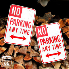 ガレージデコ/ストリートサイン/ロードサイン/ヴィンテージ看板/アンティークスタイル/アメリカンヴィンテージ/... 🇺🇸アメリカ買付 「NO PARKING…