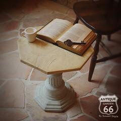 八角形/オクタゴン/大理石調/コーヒーテーブル/サイドテーブル/アメリカンヴィンテージ/... 🇺🇸アメリカ買付 古代の神殿の柱を思わせ…