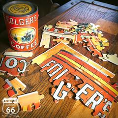 コーヒー缶/ヴィンテージ雑貨/ジグソーパズル/ヴィンテージ缶/ミッドセンチュリー/アメリカンヴィンテージ/... 🇺🇸アメリカ買付 FOLGER'S CO…