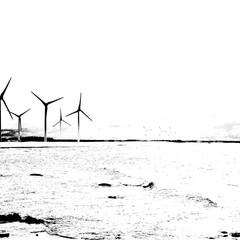 monochrome/風景/海/風車/風力発電/海岸/... Wind