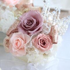 ブリザーブド/スワロフスキー/ティアラ/ハンドメイド/お花/サークルティアラ お花とサークルティアラ