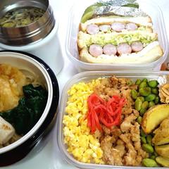 ウエイトアップ/部活弁当/高校男子お弁当 本日のお弁当 ①➡三色丼、シーフードガー…