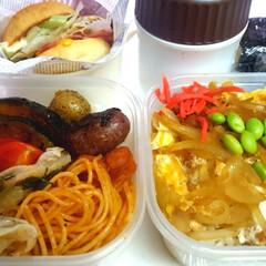 部活弁当/高校男子お弁当 本日のお弁当 ①➡カツ丼 ②➡カボチャ甘…