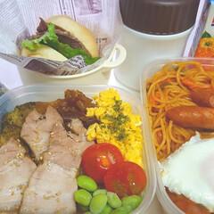 部活弁当/高校男子お弁当 本日のお弁当 米➡煮豚、入り玉子、枝豆、…