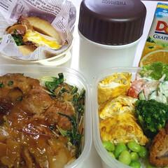 部活弁当/高校男子お弁当 本日のお弁当 1➡チキンのオレンジ煮 2…