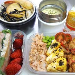 高校男子お弁当 本日のお弁当 ①➡鮭、玉子焼き、軟骨の唐…
