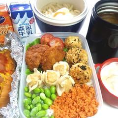 体重アップ/部活弁当/高校男子弁当 本日のお弁当 ①➡メンチカツ、カニシュウ…