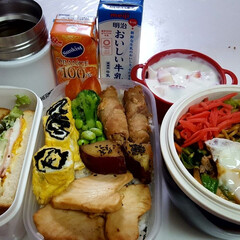 ウェイトアップ/部活弁当/高校男子弁当 本日のお弁当 ①➡カジキ照り焼き、えのき…