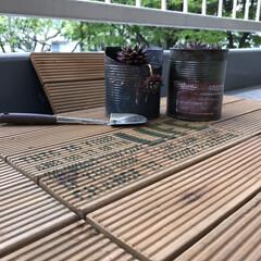 リメ缶/団地セルフリノベーション/センペルビューム/ベランダガーデニング/ウッドタイル/ニトリ ベランダに敷いたニトリのウッドタイルにワ…