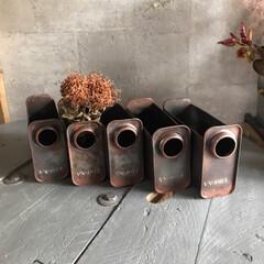 角缶/junk/リメ缶/ハンドメイド 角缶の切り方を変えて出し入れしやすい小物…