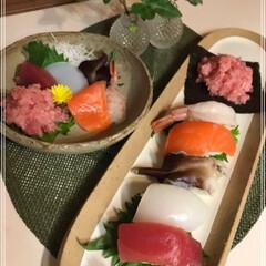 握り寿司/おでん/お刺身/ステーキ/LIMIAごはんクラブ/わたしのごはん/... 握り寿司...私 お刺身...娘  皆さ…