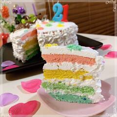 happybirthday/birthdayケーキ/シャインマスカット/レインボーケーキ/ハートケーキ/100均/... 21歳娘のお誕生日🎂おめでとう~ ハート…(4枚目)