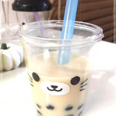 猫カップ/猫みみカップ/タピオカミルクティー/キャンドゥ/100均/おやつタイム/... お気に入りの猫みみカップで タピオカミル…(3枚目)