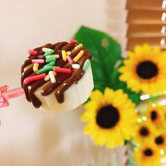 3時のおやつ/ひと口チョコバナナ/チョコバナナ/カラースプレー/バナナ/チョコレート/... 3時のおやつ♡ おこちゃまな私(≧∇≦*…(2枚目)