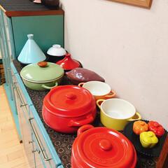 お鍋の収納/100均/セリア/キャンドゥ/鍋収納/鍋の居場所/... お気に入りの可愛いお鍋達❤ 見せる収納し…