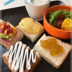 食パン/トースト/ワンプレート/モーニング 休日のモーニング♪  休日最高(○´ヮ`…