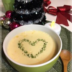 MerryX'mas/コーンスープ/ハート/とまとチーズリゾット/ポテトサラダ/フォロー大歓迎/... 今日も我が家は勝手にXmas🎄  とまと…(2枚目)