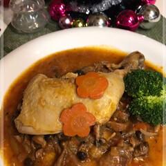 チキンのトマト煮込み/骨付きもも肉/フォロー大歓迎/クリスマス/クリスマスツリー/おうちごはんクラブ/... Merry Christmas🎄 骨付き…