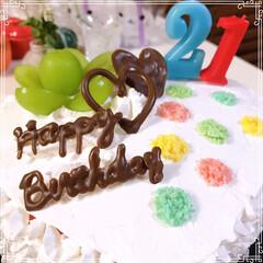 happybirthday/birthdayケーキ/シャインマスカット/レインボーケーキ/ハートケーキ/100均/... 21歳娘のお誕生日🎂おめでとう~ ハート…(2枚目)
